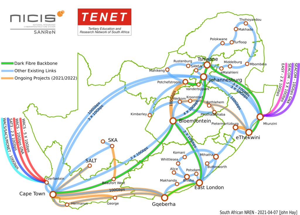 South African NREN Backbone Map